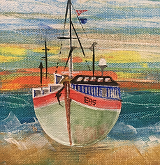 Fishing boats in Arniston South Africa where the Atlantic meets the Indian Ocean. David Berridgepng