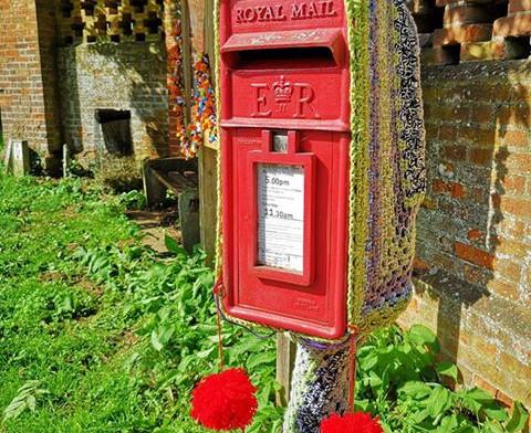 Yarn bombed mail box