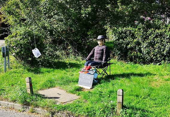 Even scarecrows take time off to go fishing ... this one is at The Tovells