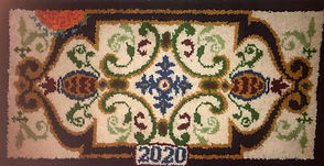 2020 Covid Rug (see covid motif on top edge) by Andy Barkley