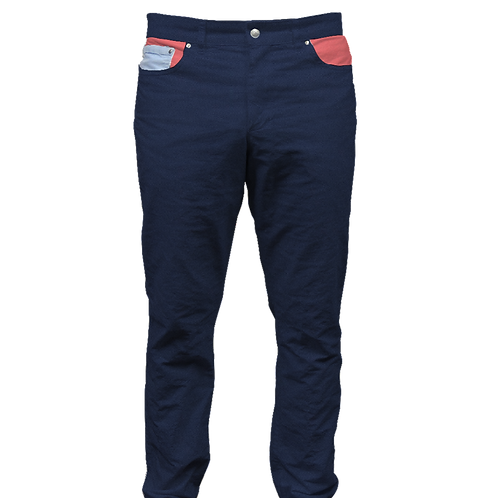 Navy Twill Pant with Salmon
