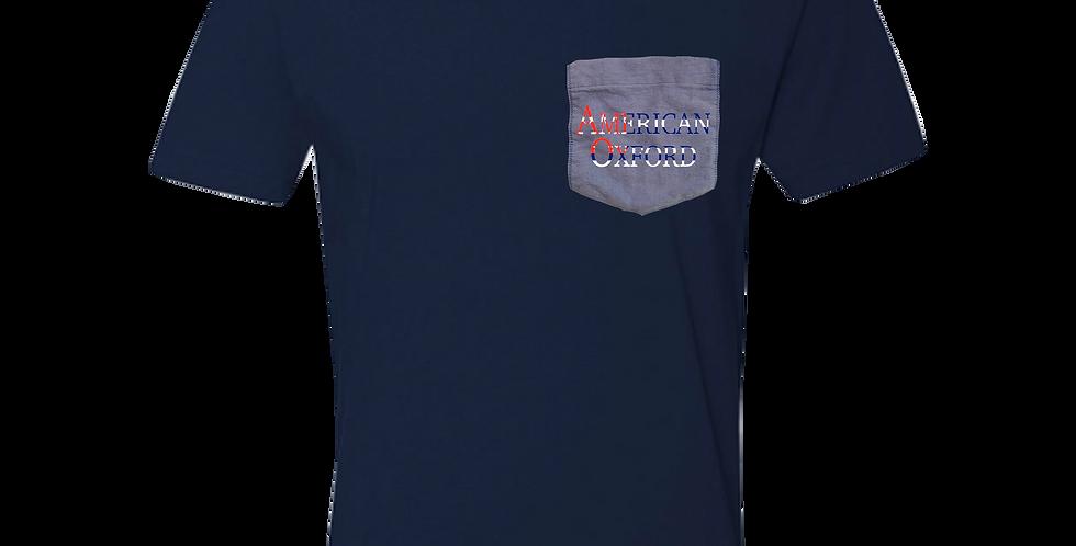Navy crew neck t-shirt w/blue oxford pocket