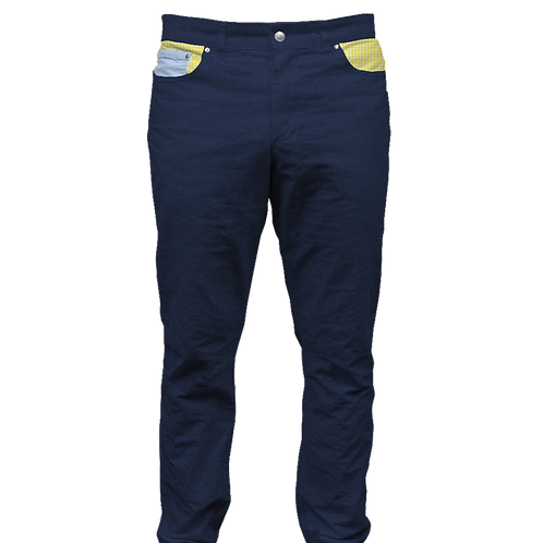 Navy Twill Pant with Yellow Gingham