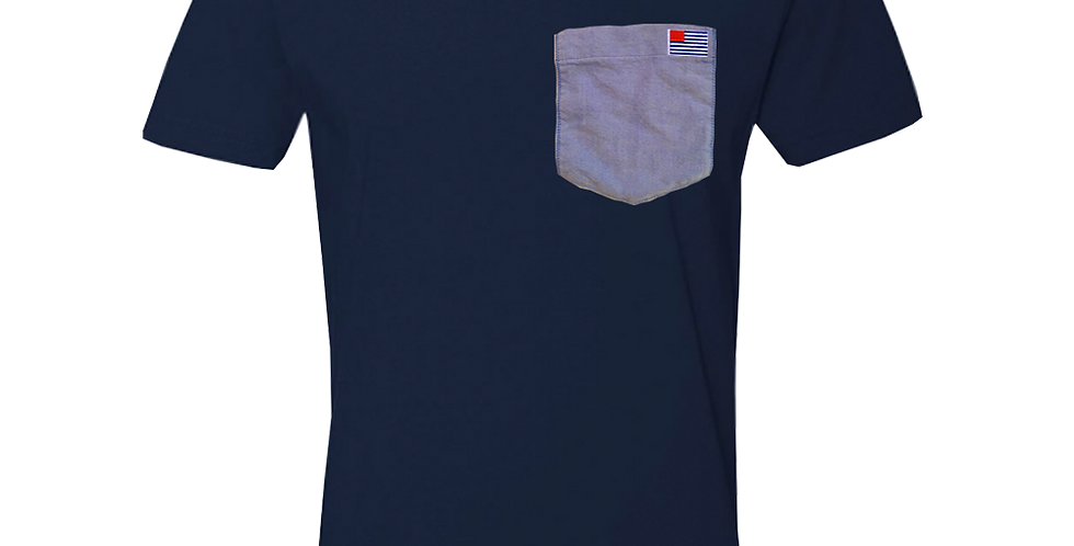Navy crew neck t-shirt w/blue oxford pocket & small AO Flag