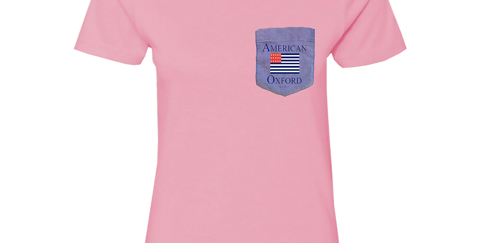 Pink t-shirt: Signature American Oxford Blue Pocket