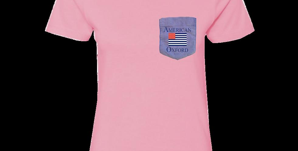 Pink t-shirt: Signature American Oxford Blue Pocket