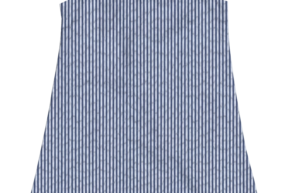 A-Line Shift Dress- Navy Seersucker