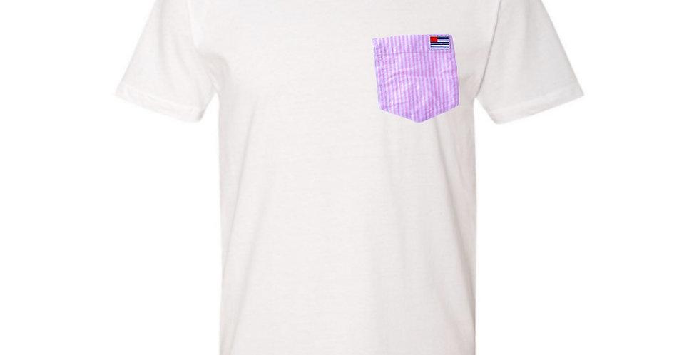 White T-Shirt with Pink & White Stripe Pocket