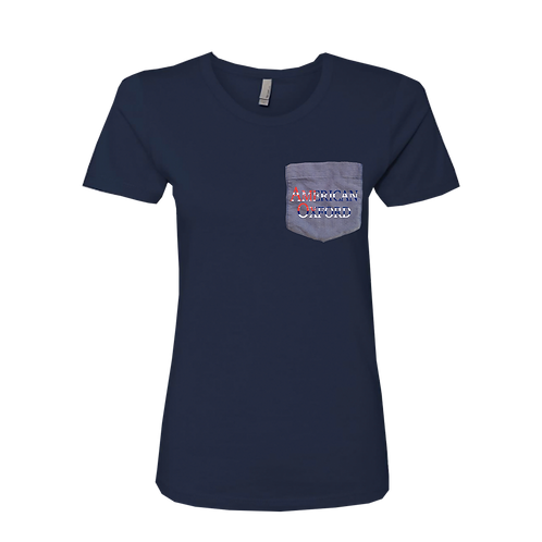 Navy t-shirt: American Oxford Silkscreened on Blue Pocket