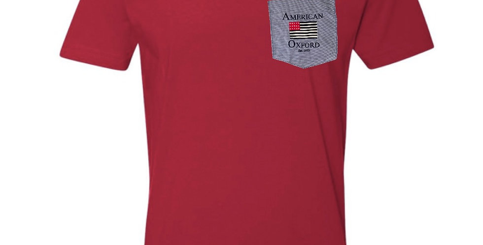 Red T-Shirt with Blue Oxford pocket