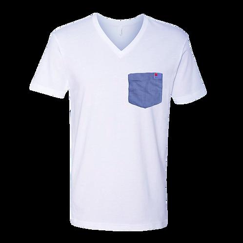 White V-Neck T-Shirt with Blue Oxford pocket