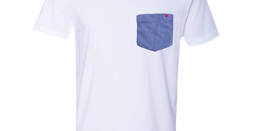 White V-Neck T-Shirt with Blue Oxford pocket