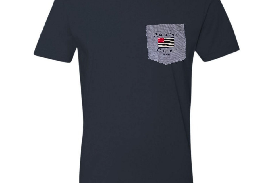 Navy T-Shirt with Blue Oxford pocket
