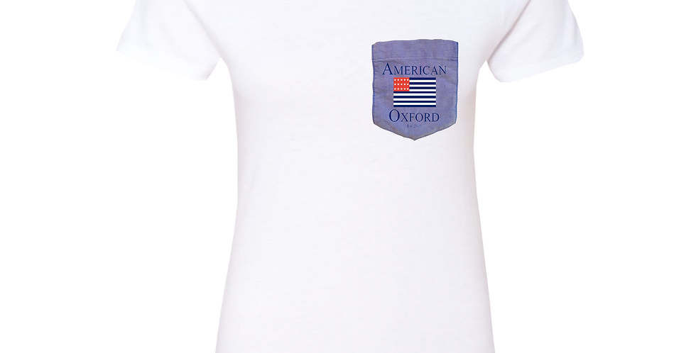 White t-shirt: Signature American Oxford Blue Pocket