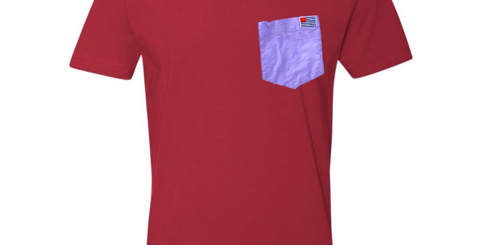 Red T-Shirt with Purple Oxford Pocket