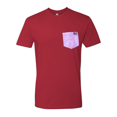 Red T-Shirt with Pink & White Stripe Pocket