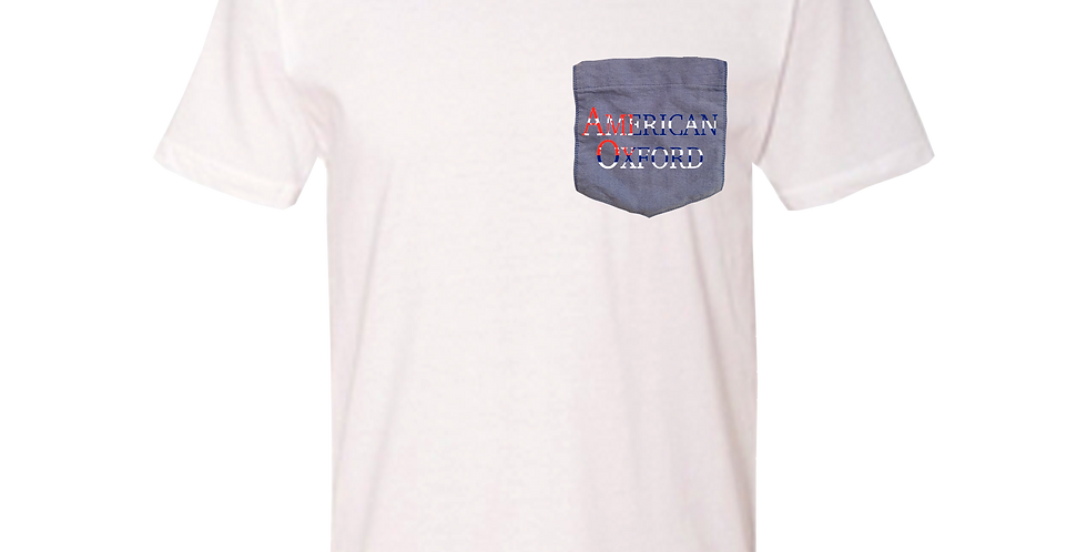 White crew neck t-shirt w/blue oxford pocket