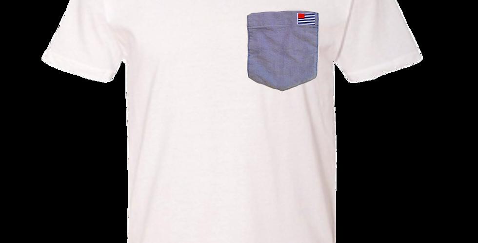 White crew neck t-shirt w/blue oxford pocket & small AO Flag