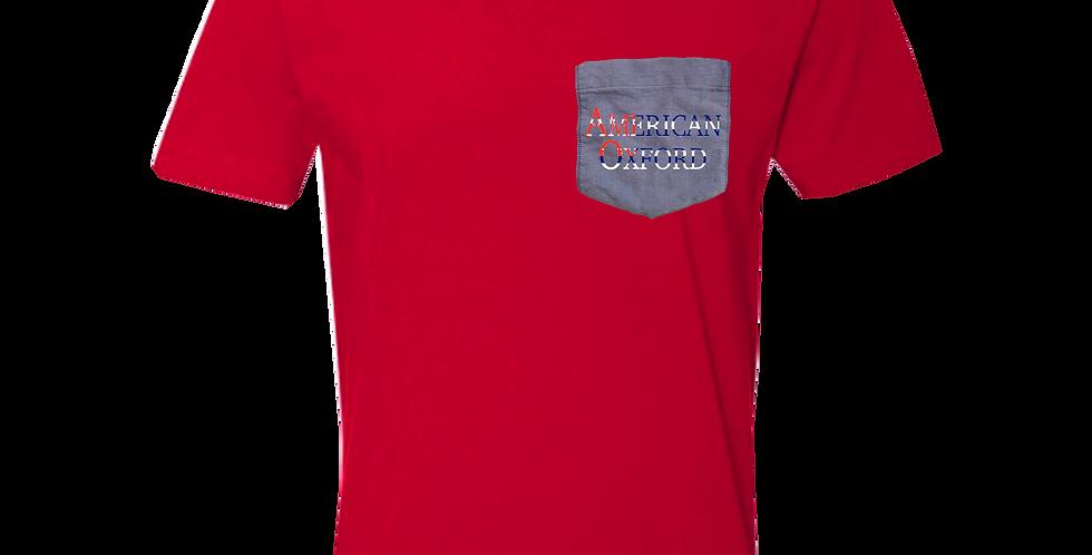 Red crew neck t-shirt w/blue oxford pocket
