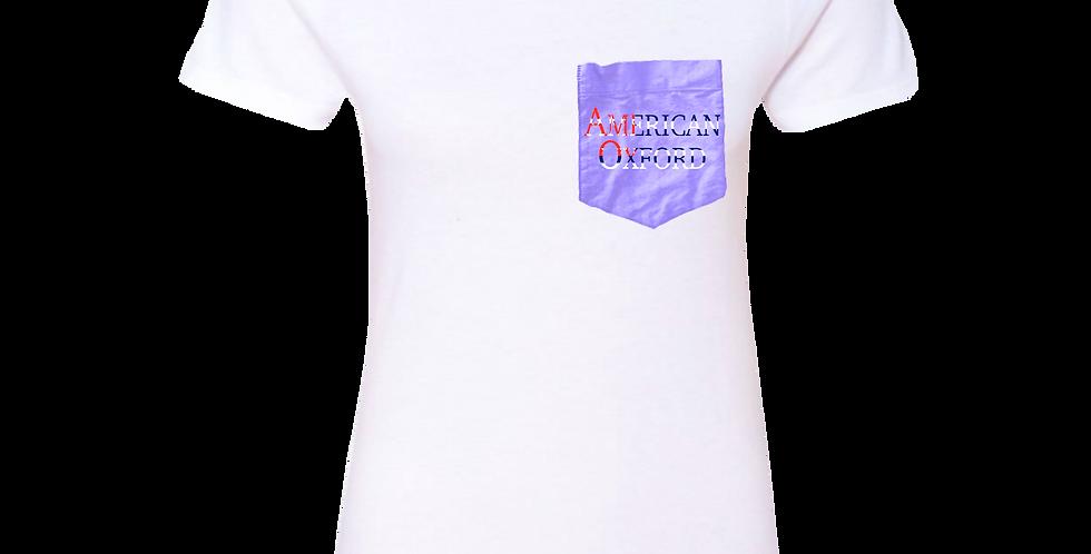White t-shirt: American Oxford silkscreened Purple Pocket