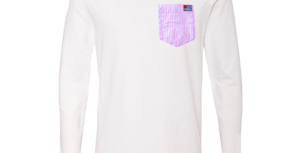 Small American Oxford Flag on Pink & White Pocket