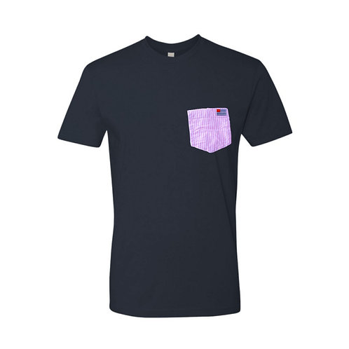 Navy T-Shirt with Pink & White Stripe Pocket