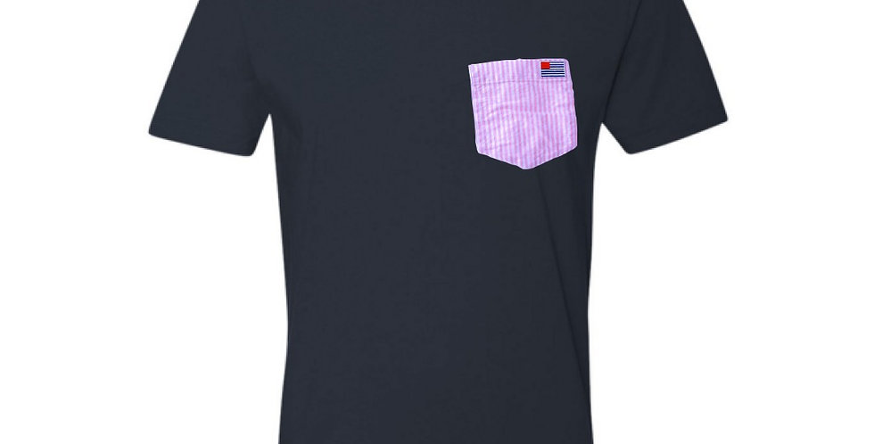 Navy T-Shirt with Pink & White Stripe Pocket