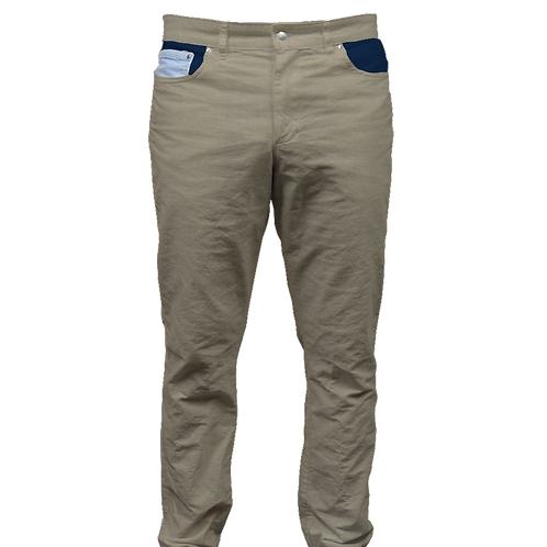 Dark Khaki Twill Pant and Navy