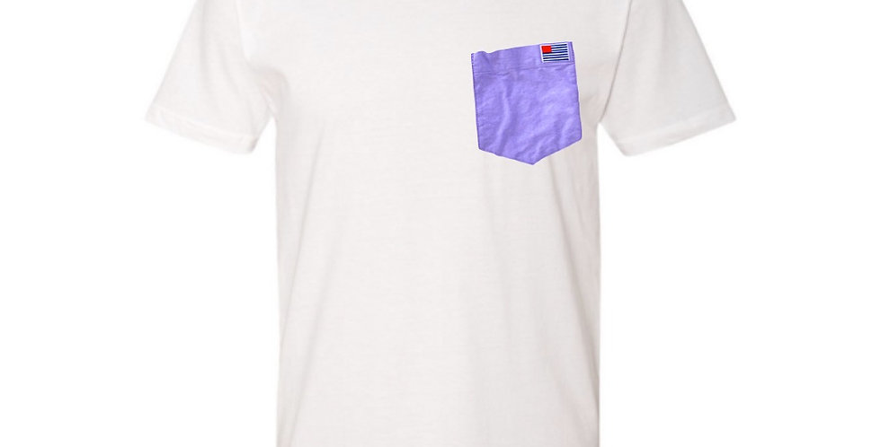 White T-Shirt with Purple Oxford Pocket