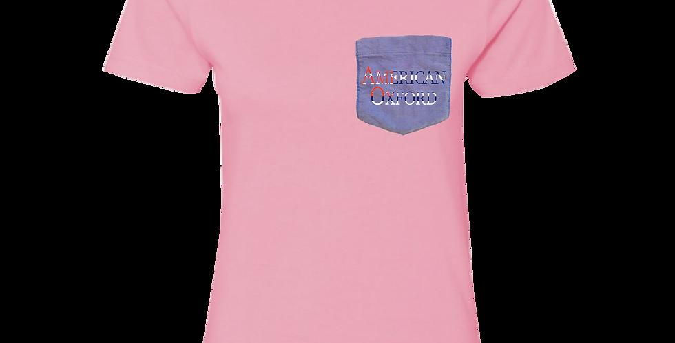 Pink t-shirt: American Oxford silkscreened on Blue Pocket