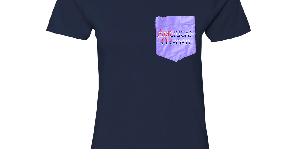 Navy t-shirt: American Oxford silkscreened on Purple Pocket