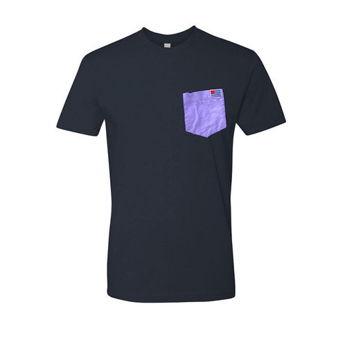 Navy T-Shirt with Purple Oxford Pocket