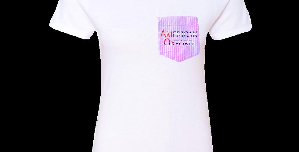 White t-shirt: American Oxford silkscreened on Pink & White Pocket