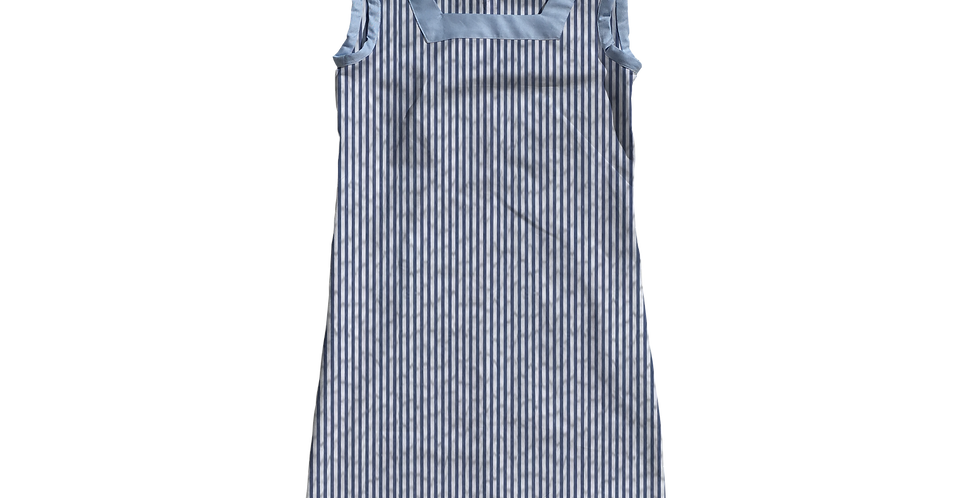 The Shift Dress- Navy Seersucker