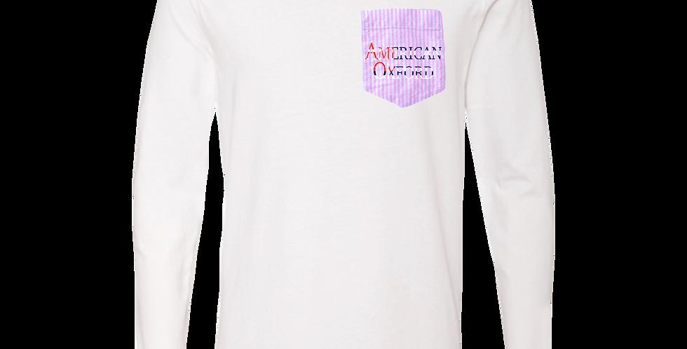 American Oxford silkscreened on Pink & White Pocket
