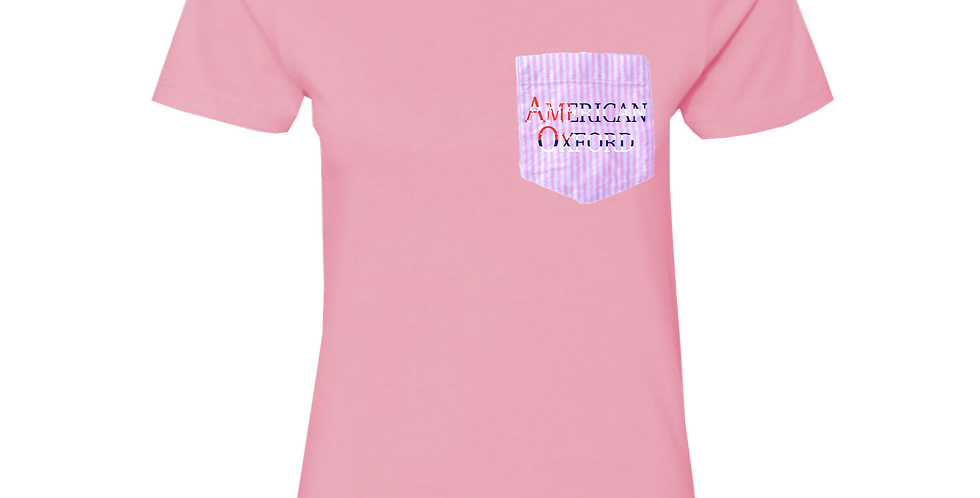 Pink t-shirt: American Oxford silkscreened on Pink & White Pocket