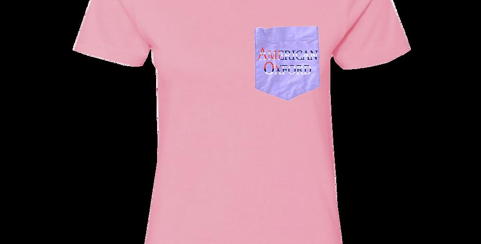 Pink t-shirt: American Oxford silkscreened on Purple Pocket