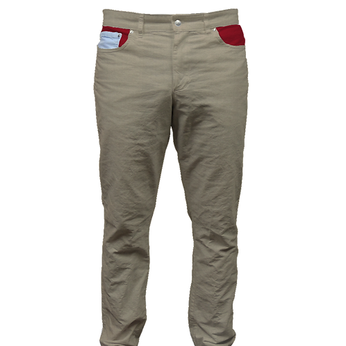 Dark Khaki Twill Pant and Red Cotton