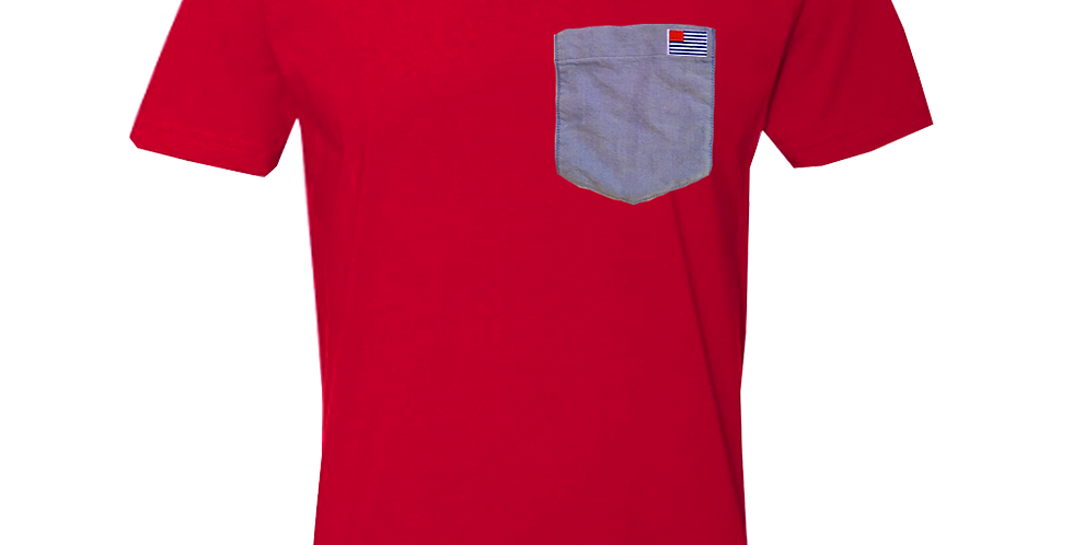 Red crew neck t-shirt w/blue oxford pocket & small AO Flag
