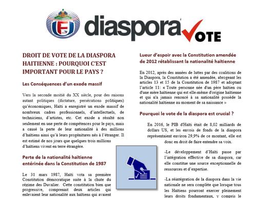 Droit de Vote de la Diaspora Haitienne : Pourquoi c'est Important Pour le Pays ?