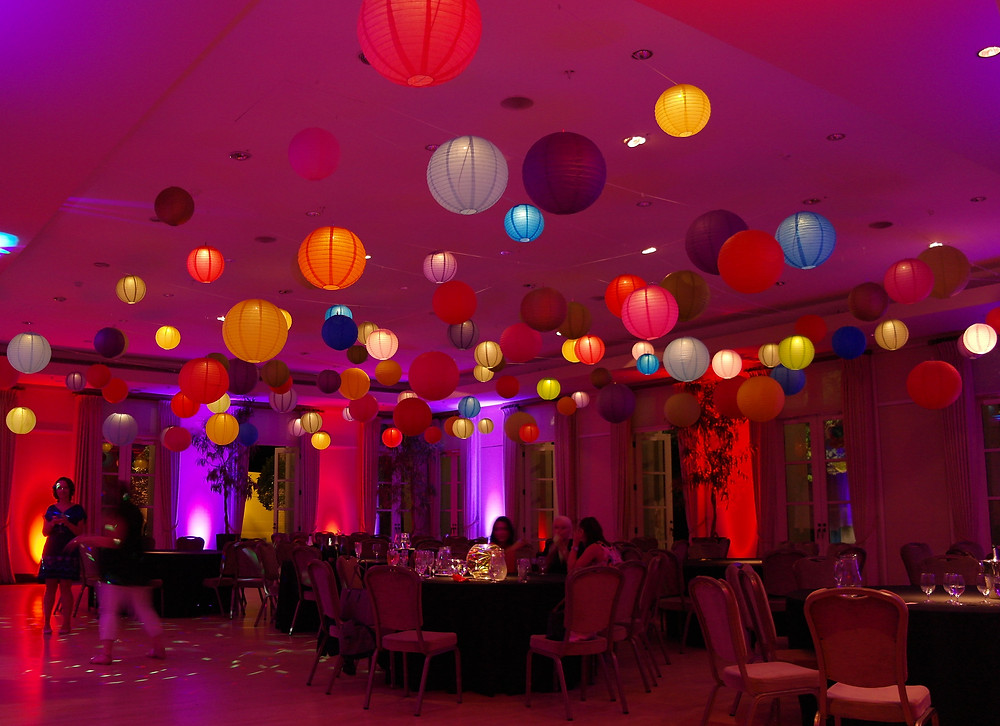 Hanging lanterns in moorish colours for a moroccan themed event at the Hurlingham club