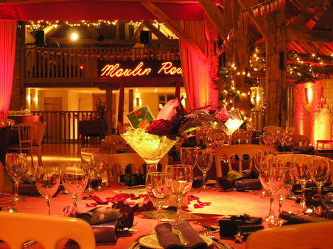 Moulin Rouge themed Christmas party at Bury Court Barn, Farnham