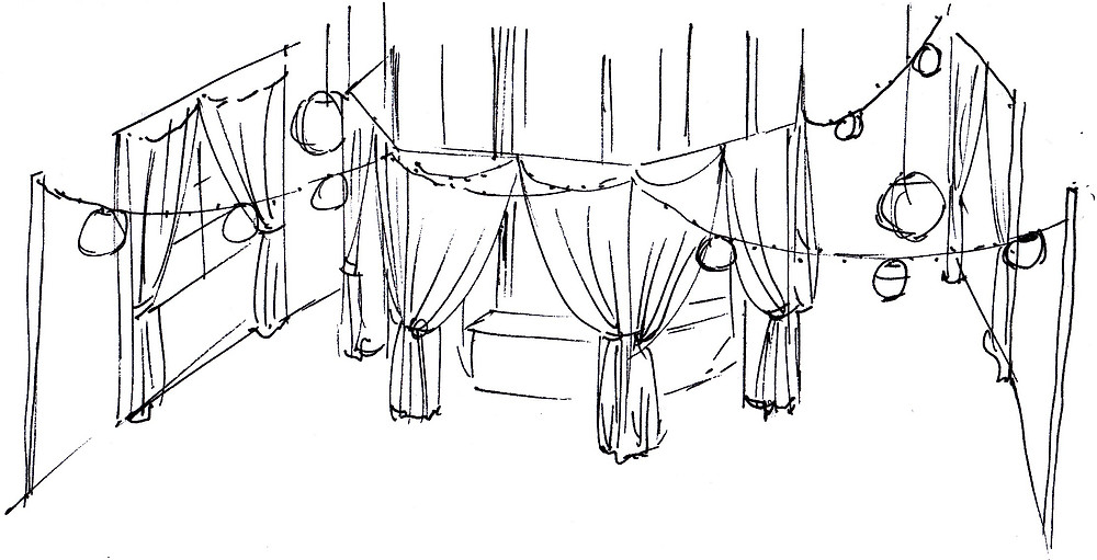 sketch to design theming for an Indian themed event at the moller centre in cambridge
