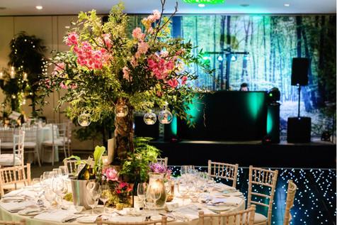 Woodland themed dinner at the Hurlingham Club, London