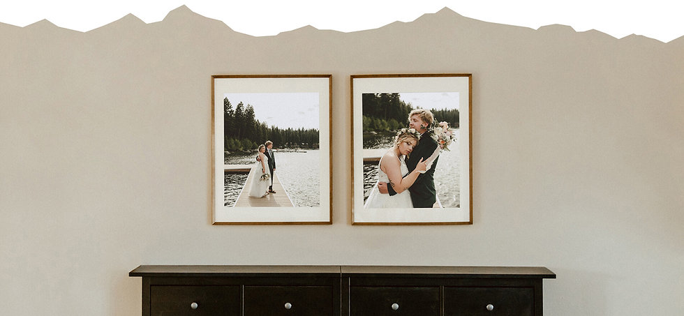 Two framed wedding prints hanging on a wall over a shoe rack.