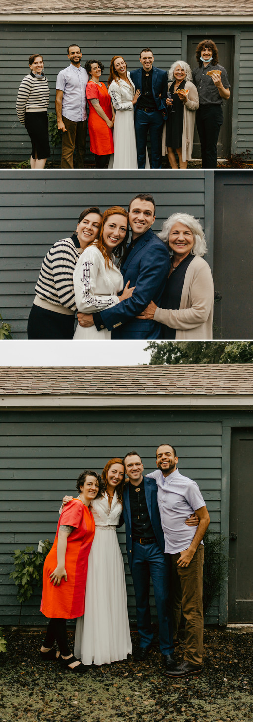 7 wedding guests posing for family portraits with some guests eating pizza.