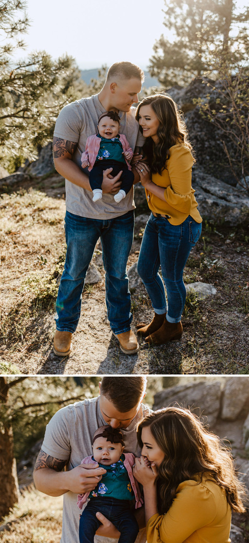 Collage of family pictures of Riley Thomas wearing a grey tshirt and blue jeans, wife Rylee Driscoll wearing a yellow blouse and jeans, and baby DJ wearing floral shirt and pink sweater.