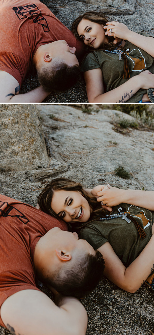 Collage of portraits of Riley Thomas wearing a red Idaho tshirt and blue jeans with wife Rylee Driscoll wearing green Idaho tshirt and jeans laying on a rock looking at each other.