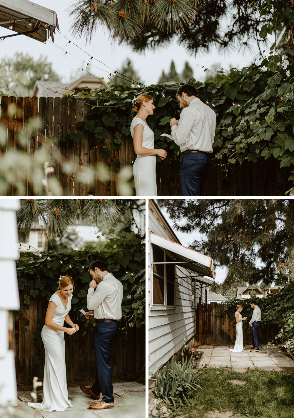 Hillary and Will standing in a corner of their backyard sharing their vows privately.