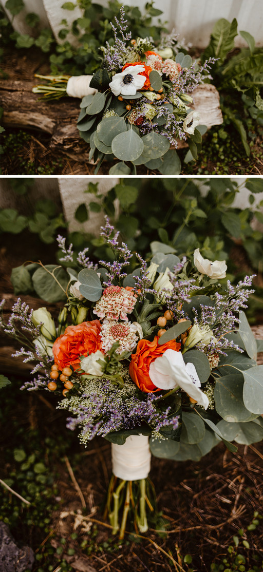 Bridal bouquet with orange, white, and green flowers.